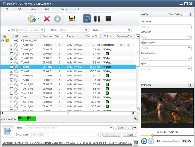 Xilisoft DVD to WMV Converter Screenshot