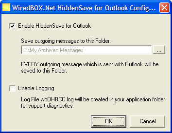 HiddenSave for Outlook Screenshot