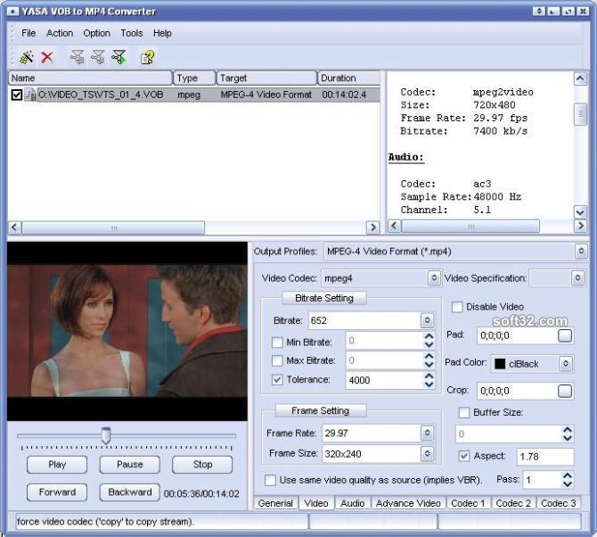 YASA VOB to MP4 Converter Screenshot 2