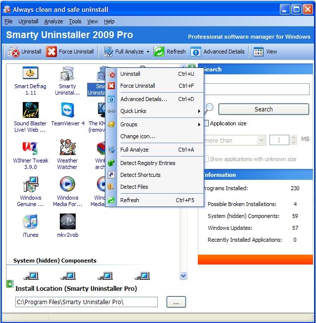 Smarty Uninstaller 2009 Pro Screenshot 2