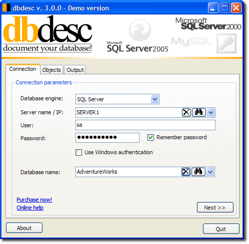 dbdesc Screenshot