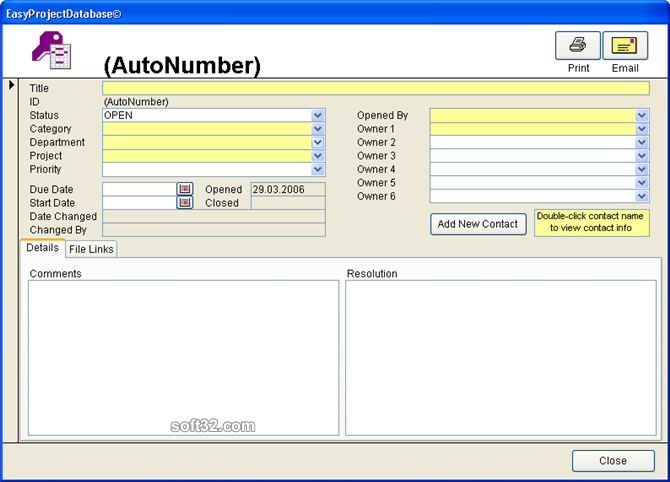EasyProjectDatabase Access Database Screenshot 2