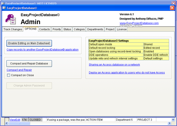 EasyProjectDatabase Access Database Screenshot 3