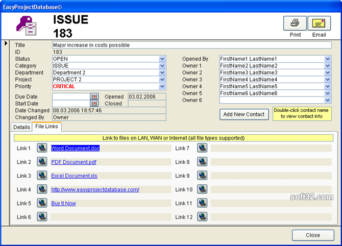 EasyProjectDatabase Access Database Screenshot 5