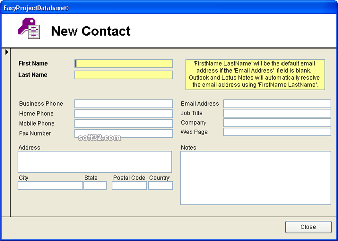 EasyProjectDatabase Access Database Screenshot 6