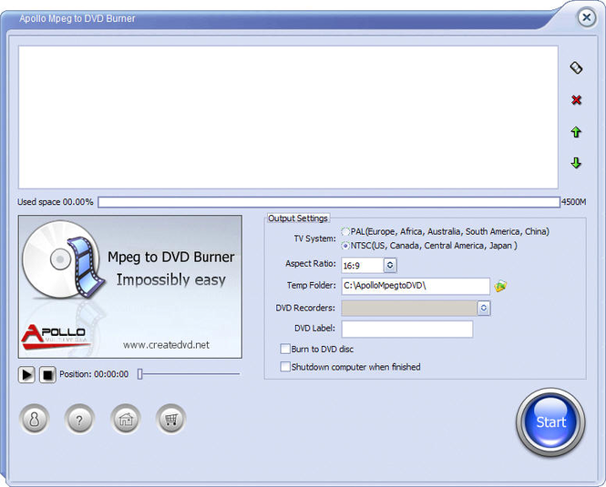 Apollo MPEG to DVD Burner Screenshot 1