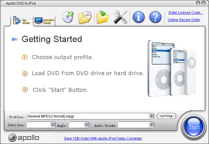 Apollo DVD to iPod Screenshot 1