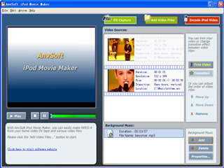 AnvSoft iPod Movie Maker Screenshot