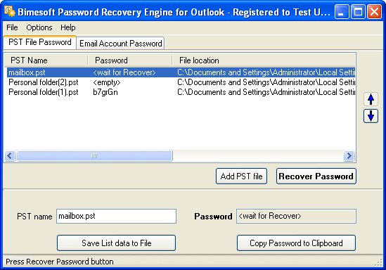 Password Recovery Engine for Outlook Screenshot