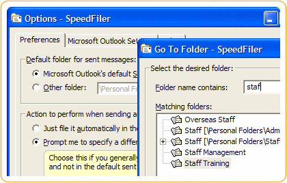 SpeedFiler for Outlook Screenshot