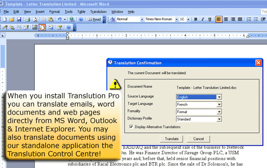 Translution translation software Screenshot