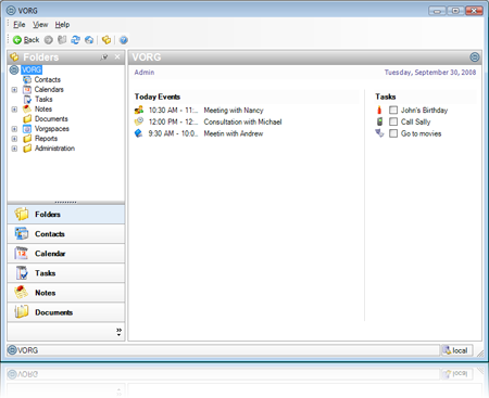VORG Team - Organizer Software Screenshot