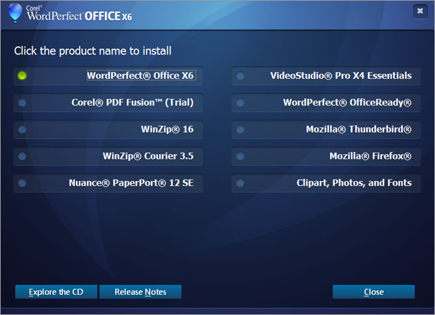 WordPerfect Office Screenshot 1