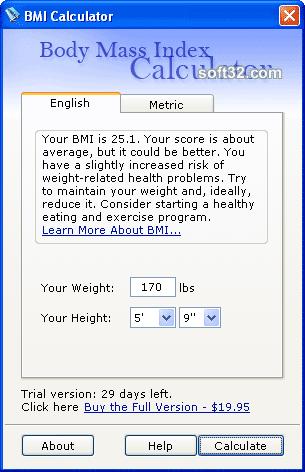 Actabit Body Mass Index Calculator Screenshot 2