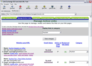 Link Exchange SEO and Add URL tool Screenshot