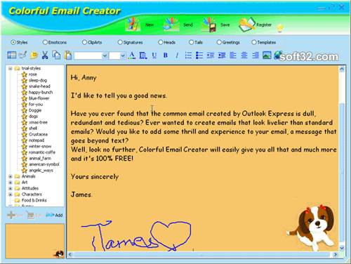 Colorful Email Creator Screenshot
