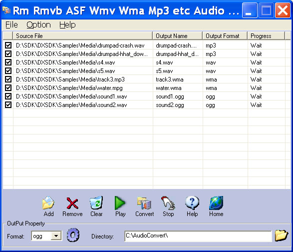 Rm Rmvb ASF Wmv Wma Mp3 Audio Converter Screenshot