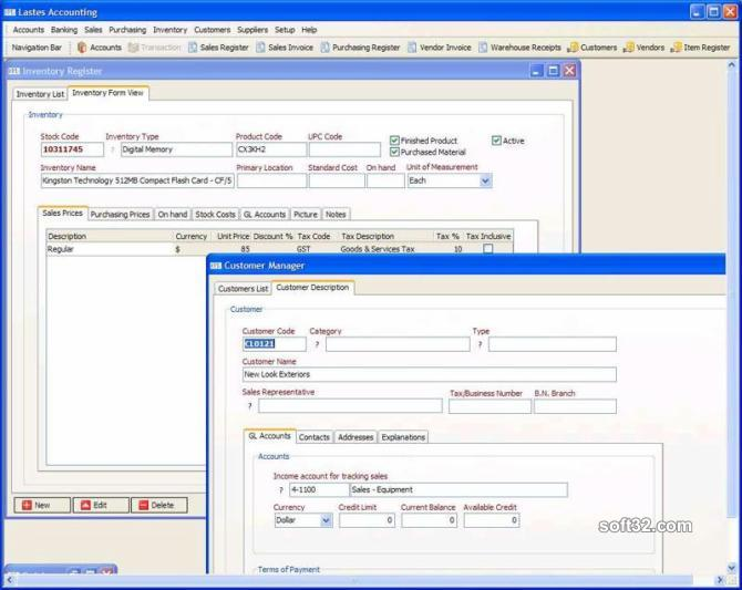 Lastes Accounting Software Screenshot 1
