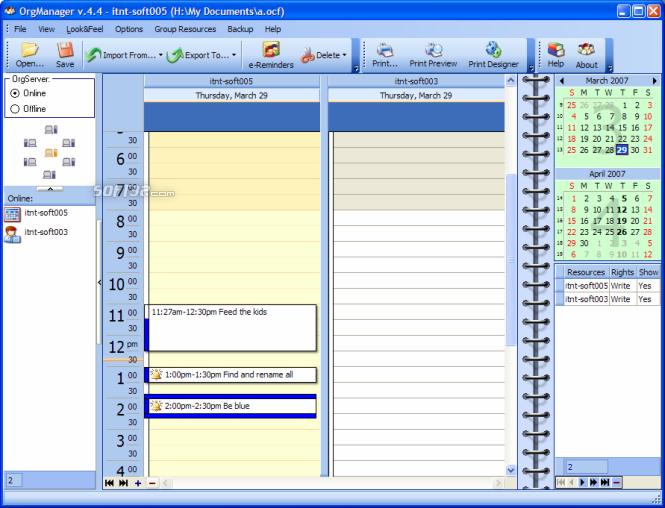 OrgScheduler LAN Screenshot 2