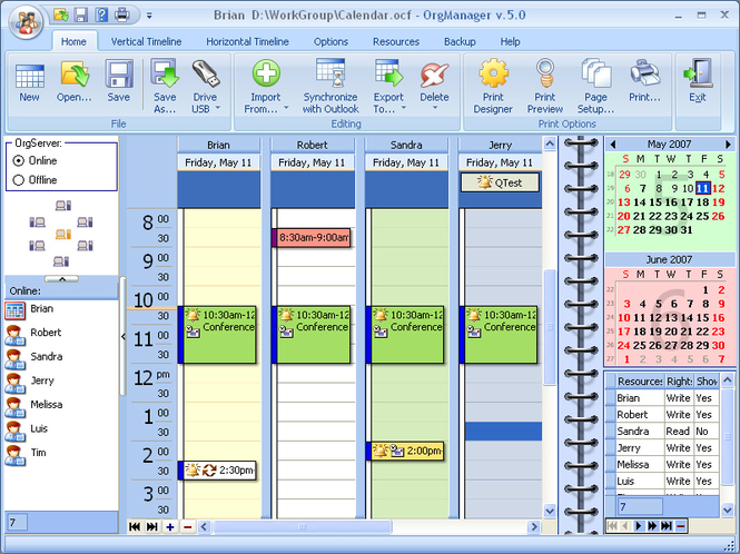 OrgScheduler LAN Screenshot