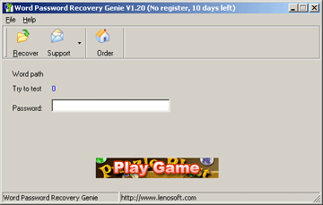 Word Password Recovery Genie Screenshot