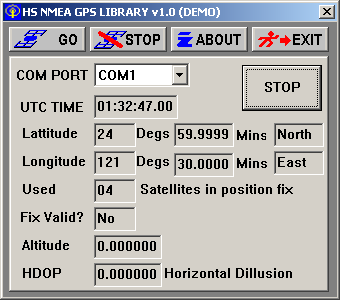HS NMEA GPS C Source Library Screenshot