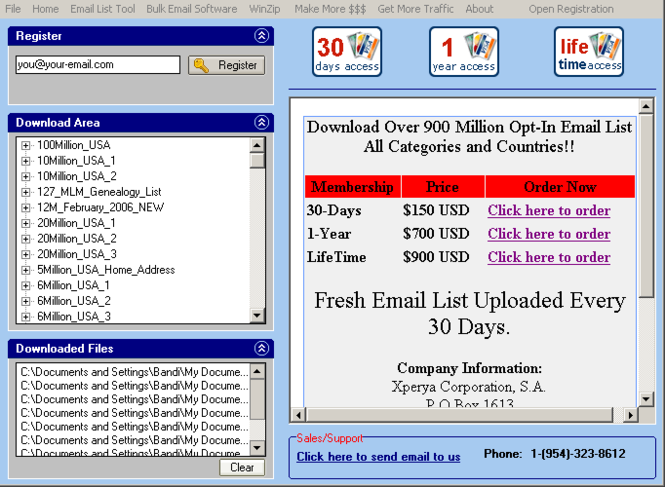 Opt-In Email List Download Manager Screenshot