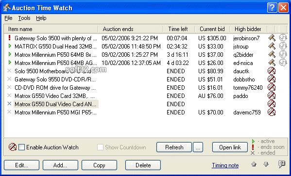 AuctionTimeWatch Screenshot