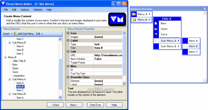 Visual Menu Maker/Universal License Screenshot