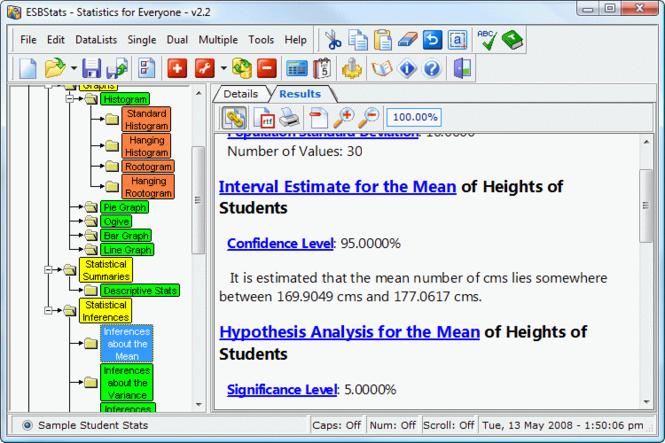 ESBStats - Statistical Analysis Software Screenshot