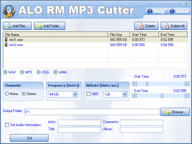ALO RM MP3 Cutter Screenshot