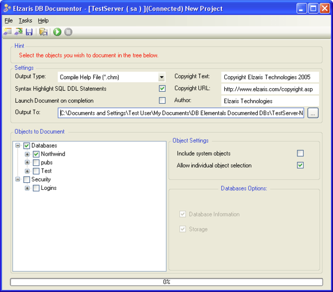 Elzaris DB Documentor Screenshot