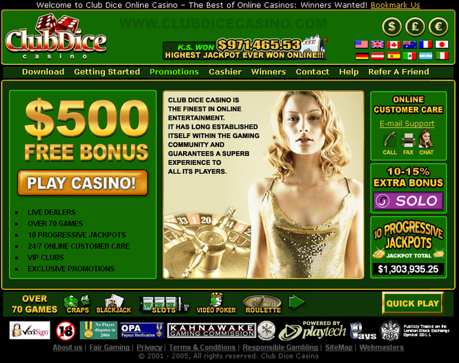 !!! $500 CLUB DICE CASINO 2006 Screenshot