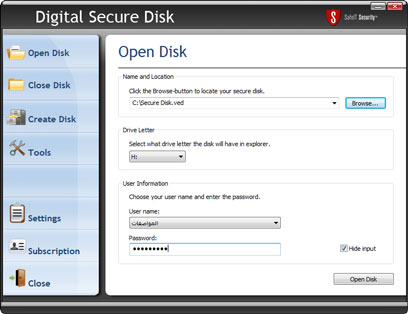 Digital Secure Disk Screenshot