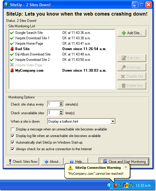 SiteUp Screenshot