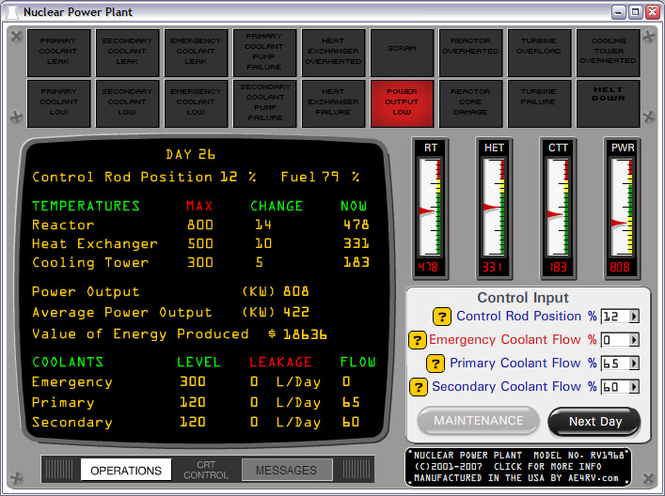 Nuclear Power Plant Simulator Screenshot