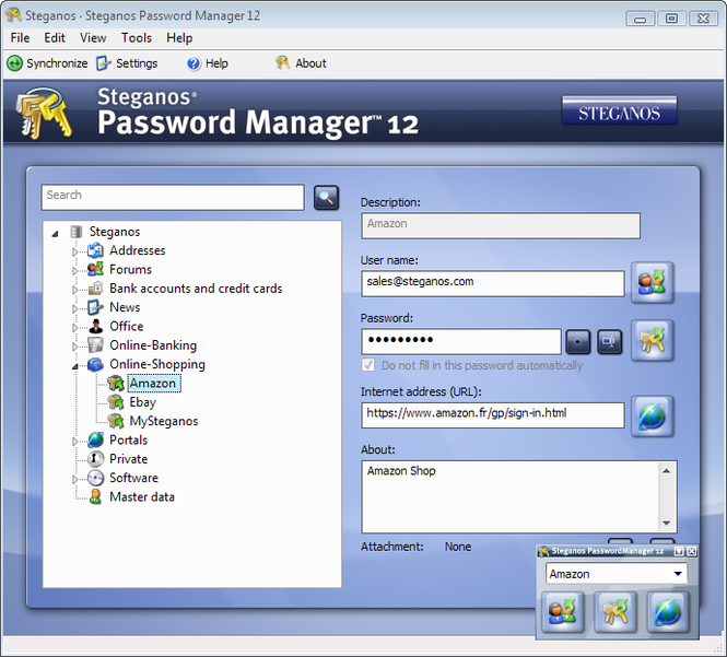 Steganos Password Manager Screenshot