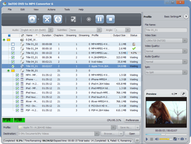 ImTOO DVD to MP4 Suite Screenshot 1