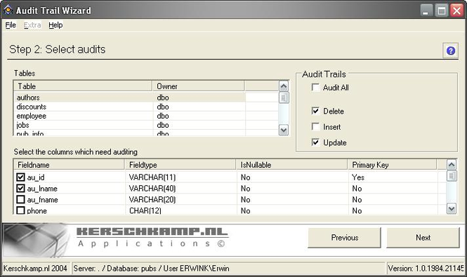 Audit Trail Wizard Screenshot