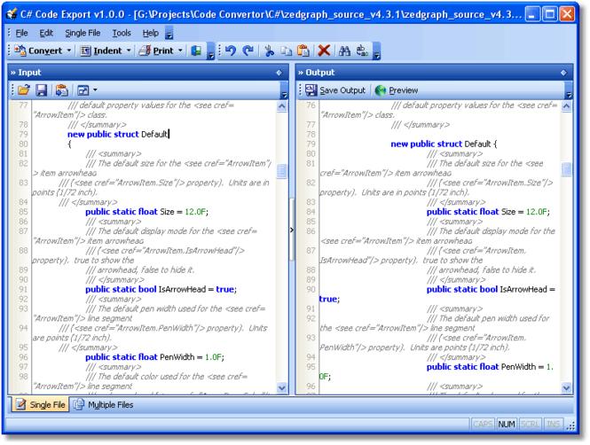 C# Code Export Screenshot 1