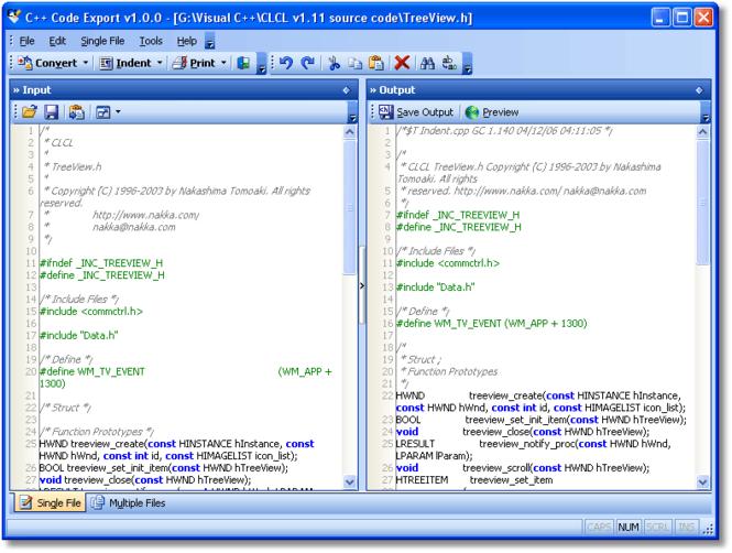 C++ Code Export Screenshot 1