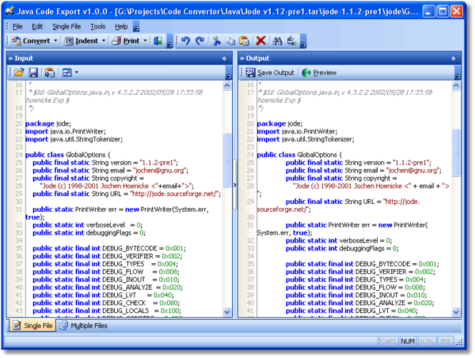 Java Code Export Screenshot