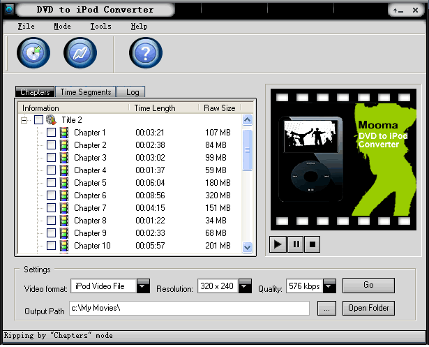 Mooma DVD to iPod Converter Screenshot