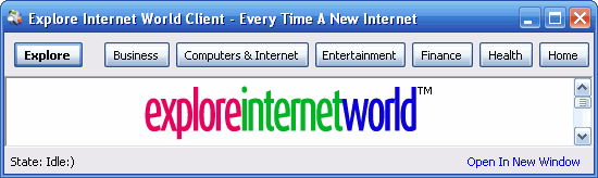 Explore Internet World Client Screenshot