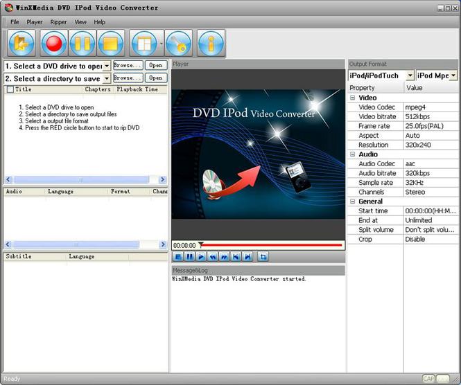 WinXMedia DVD iPod Video Converter Screenshot