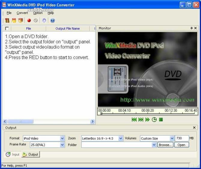 WinXMedia DVD iPod Video Converter Screenshot 2
