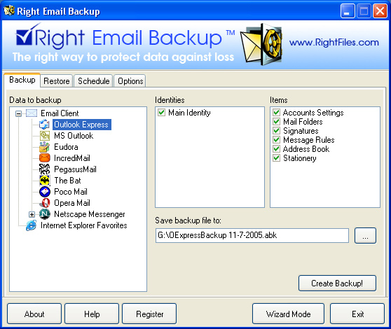 Right Email Backup Screenshot 1