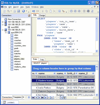 MyISQL (ISQL for MySQL) Screenshot