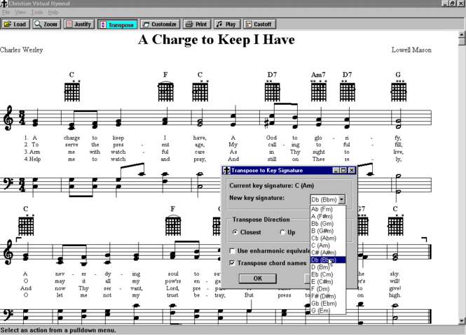 Christian Virtual Hymnal Screenshot