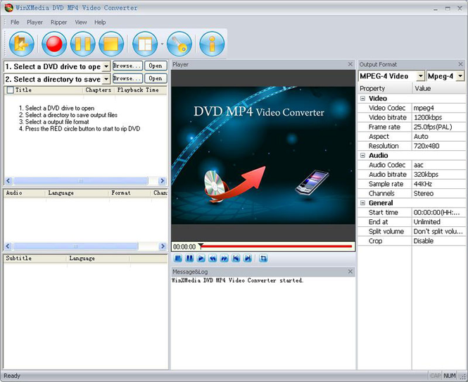 WinXMedia DVD MP4 Video Converter Screenshot